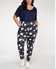 Plus Size Floral Print Pull-On Pants