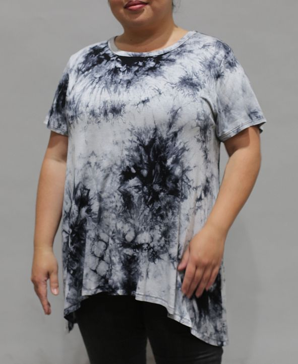 COIN 1804 Women's Plus Size Tie Dye Short Sleeve Button Back Top