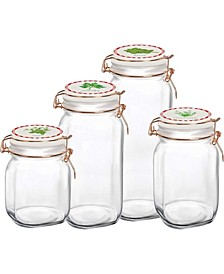 Canister with Herb Decal Ceramic Lid, Set of 4