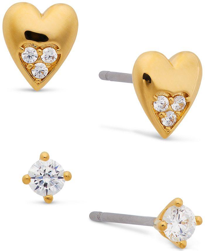 AVA NADRI - 18k Gold-Plated 2-Pc. Set Cubic Zirconia & Heart Stud Earrings