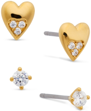 18k Gold-Plated 2-Pc. Set Cubic Zirconia & Heart Stud Earrings