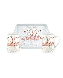 3 Piece Mug and Tray Set - Flamingle Bells