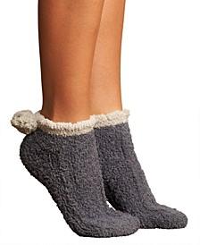 Womens Cable Pom Foam Ped No Show 2pk Socks