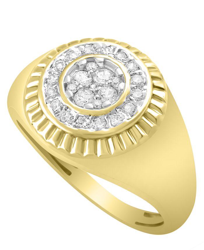 Macy's - Men's Diamond (1/2 ct. t.w.) Ring in 10k Yellow Gold