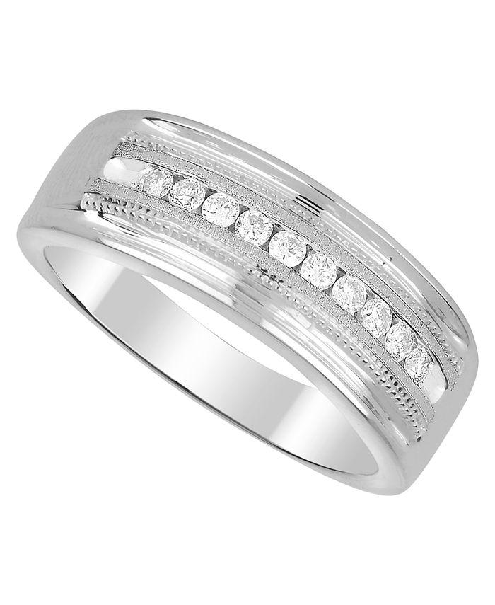 Macy's - Men's Diamond (1/2 ct. t.w.) Ring in White or Yellow Gold