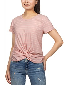 Juniors' Striped Twist-Front T-Shirt