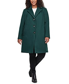 Plus Size Faux-Leather-Trim Walker Coat, Created for Macy's