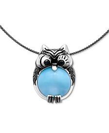 "Larimar & Black Spinel Owl 21"" Pendant Necklace in Sterling Silver"