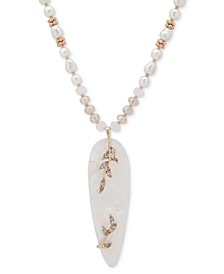 """Gold-Tone Pavé & Mother-of-Pearl Beaded Pendant Necklace, 32"""" + 3"""" extender"""