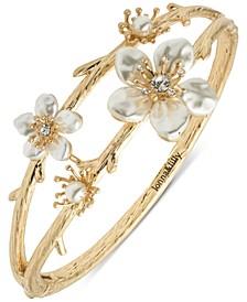 Gold-Tone Pavé & Imitation Pearl Flower Double-Row Bangle Bracelet