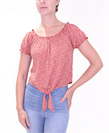 Crave Fame Juniors' Puff-Sleeve Off Shoulder Tie-Front Top