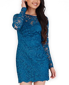 Juniors' Glitter-Lace Bodycon Dress
