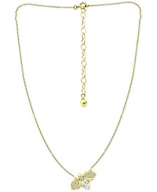 "Cubic Zirconia Bee 16"" Pendant Necklace in 18k Gold-Plated Sterling Silver, Created for Macy's"