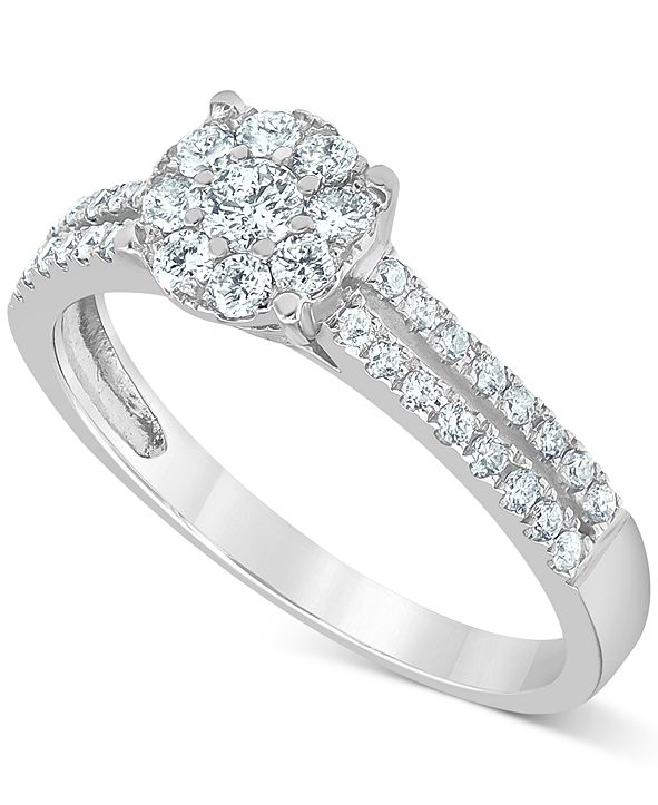 Macy's Diamond (1/2 ct. t.w.) Cluster Engagement Ring in 14k White Gold