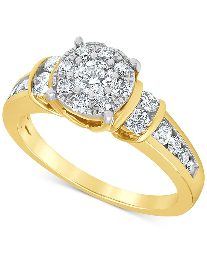 Macy's - Diamond (1 ct. t.w.) Halo Engagement Ring in 14k Yellow Gold