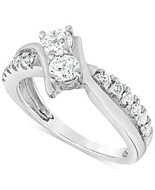 Diamond (1 ct. t.w.) Two Stone Engagement Ring in 14k White Gold
