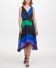 Sleeveless Double-V Faux Wrap with Belt