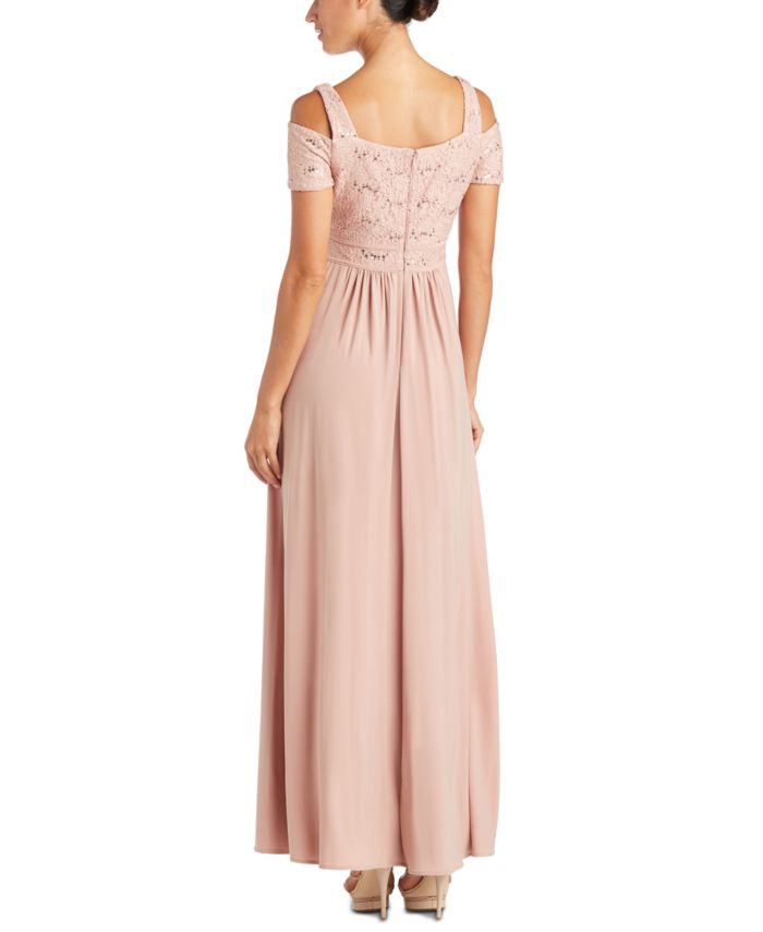 Nightway Cold-Shoulder Lace Gown & Reviews - Dresses - Women - Macy's