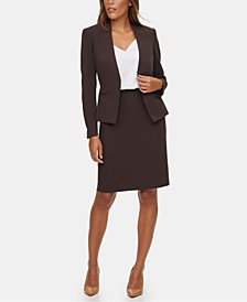 Asymmetrical Jacket, V-Neck Camisole & Pencil Skirt