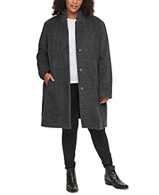 DKNY Plus Size Single-Breasted Walker Coat, Created for Macy's