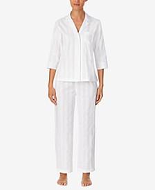 Cotton Shadow Stripe Pajama Set