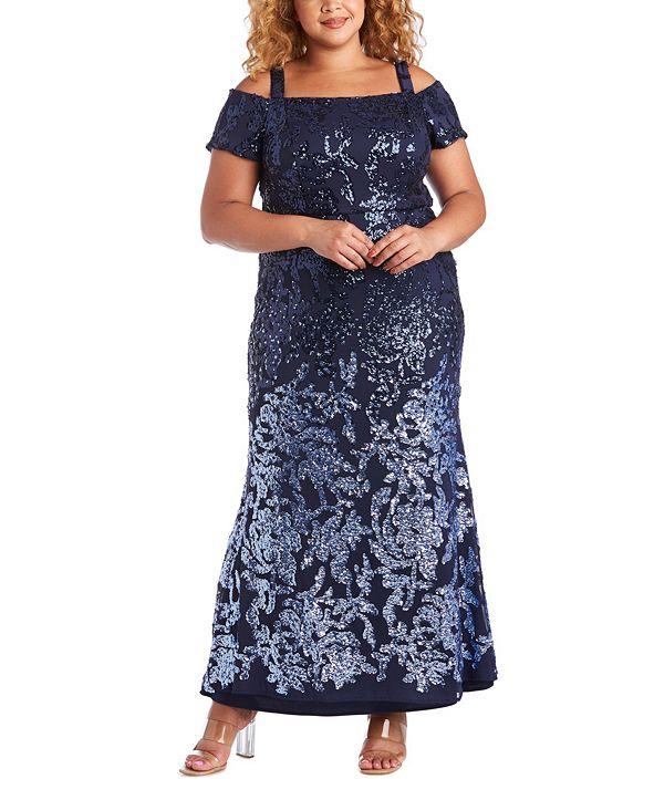 R & M Richards Plus Size Cold-Shoulder Gown