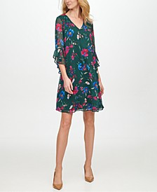 Ruffled-Sleeve Chiffon Dress
