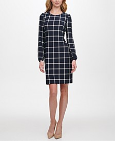 Grid-Print Sheath Dress