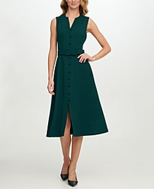 Scuba-Crepe Button-Front Midi Dress