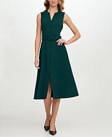 Scuba-Crepe Button-Front Midi Dress