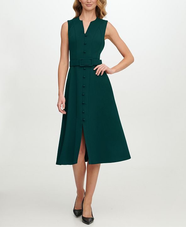 Calvin Klein Scuba-Crepe Button-Front Midi Dress