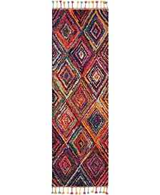 "Nomad NMD01 Red and Multi 2'3"" x 8' Runner Rug"