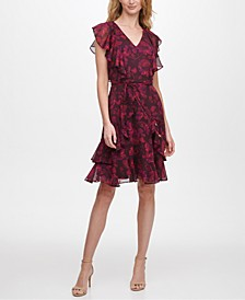 Rose-Print Flutter-Sleeve Dress
