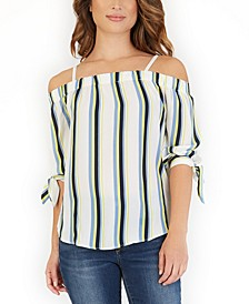 Juniors' Striped Off-The-Shoulder Top