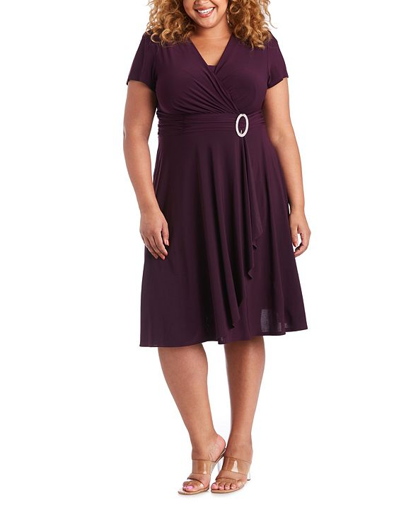 R & M Richards Plus Size Cascade Dress