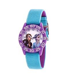 Disney Frozen 2 Elsa and Anna Girls' Purple Plastic Time Teacher Watch 32mm