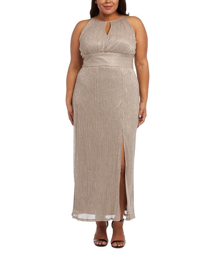 R & M Richards - Plus Size Metallic Gown