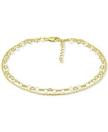 Double Row Heart Ankle Bracelet in 18k Gold-Plated Sterling Silver & Sterling Silver, Created for Macy's