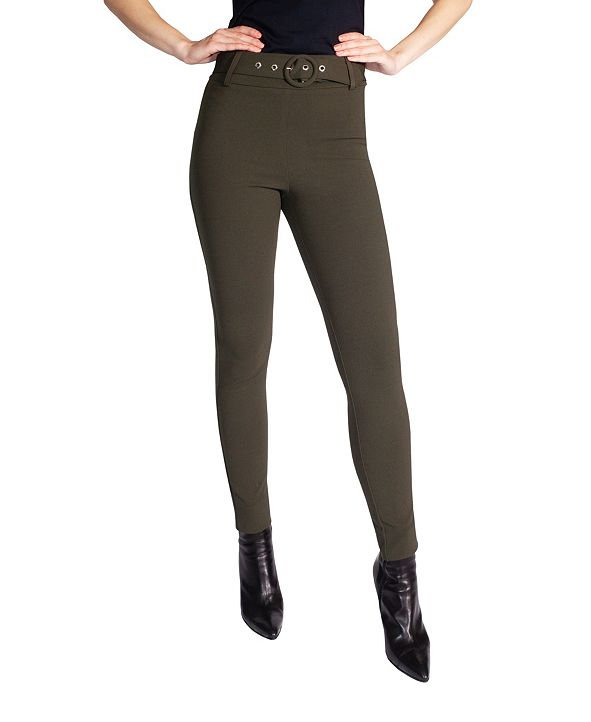 Soho Apparel Ltd Women's Skinny Pull On Pant with Removable Belt