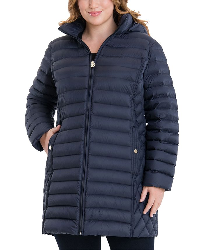 Michael Kors - Plus Size Hooded Packable Puffer Coat,