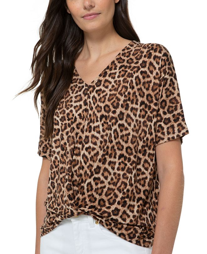 Michael Kors Plus Size Leopard-Print Twist-Front Top