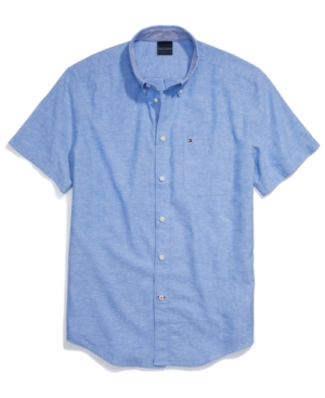 Tommy Hilfiger Men's Adaptive Custom Fit Linen Cotton Short-Sleeve Shirt with Magnetic Buttons