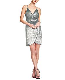 Aidan by Aidan Mattox Sequined Wrap Dress