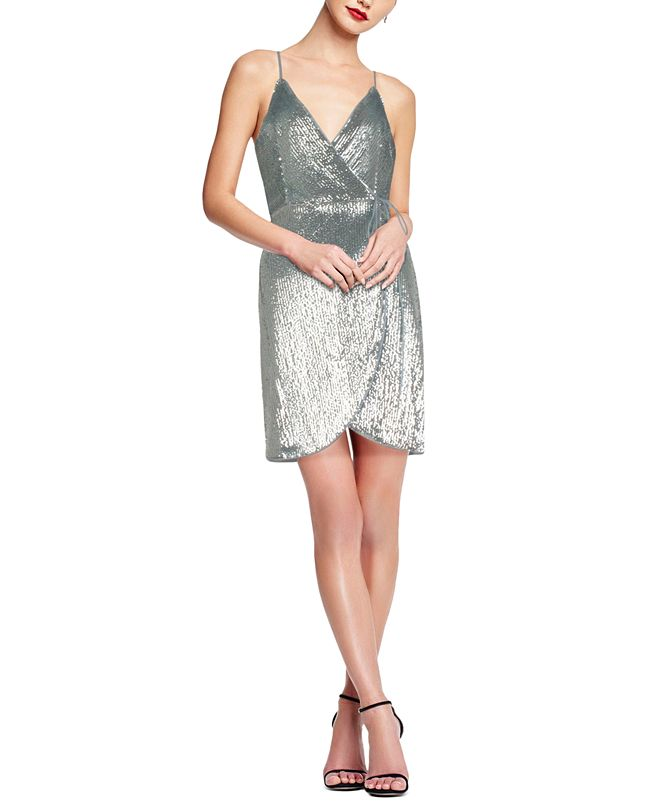 Aidan by Aidan Mattox Sequined Wrap Dress