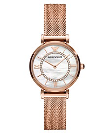 Women's Rose Gold-Tone Stainless Steel Mesh Bracelet Watch 32mm