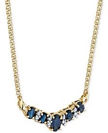 "Sapphire (1-3/4 ct. t.w.) & Diamond (1/8 ct. t.w.) 16"" Statement Necklace in 14k Gold"