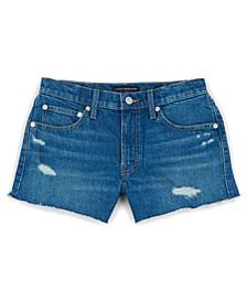 Cotton Distressed Denim Shorts