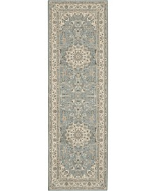 "Living Treasures LI15 Aqua and Ivory 2'6"" x 12' Runner Rug"