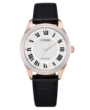 Eco-Drive Women's Arezzo Diamond Black Leather Strap Watch 32mm