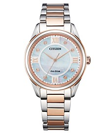 Eco-Drive Women's Arezzo Diamond-Accent Two-Tone Stainless Steel Bracelet Watch 32mm
